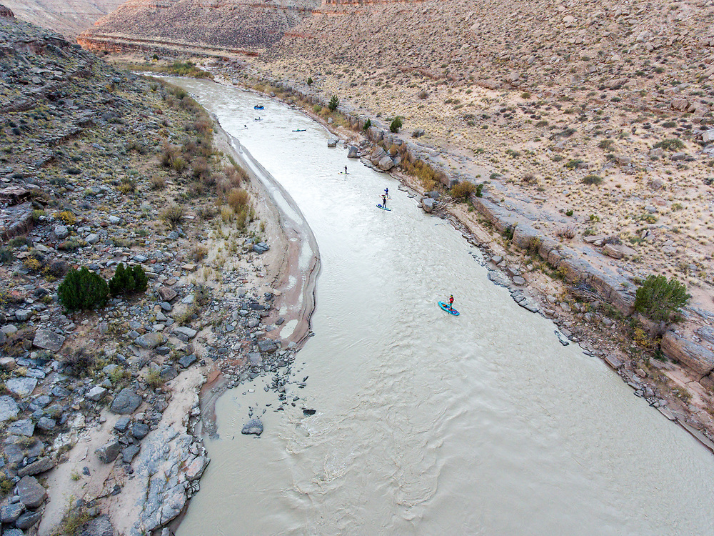 SUP,  canoe, kayak and rafters  on Utah's San Juan river, Bear's Ears National Monument