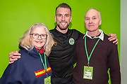 Forest Green Rovers Christian Doidge(9) with his sponsors during the EFL Sky Bet League 2 match between Forest Green Rovers and Carlisle United at the New Lawn, Forest Green, United Kingdom on 16 March 2019.