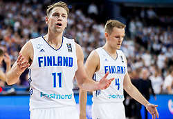 Petteri Koponen of Finland and Mikko Koivisto of Finland during basketball match between National Teams of Finland and Slovenia at Day 3 of the FIBA EuroBasket 2017 at Hartwall Arena in Helsinki, Finland on September 2, 2017. Photo by Vid Ponikvar / Sportida