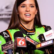 Driver Danica Patrick speaks with the media during the NASCAR Media Day event at Daytona International Speedway on Thursday, February 14, 2013 in Daytona Beach, Florida.  (AP Photo/Alex Menendez)