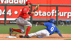 March 20, 2017 - Surprise, AZ, USA - Kansas City Royals' Terrance Gore steals second under the glove of Cincinnati Reds Juan Perez in the seventh inning on Monday, March 20, 2017 during a spring training baseball game in Surprise, Ariz. (Credit Image: © John Sleezer/TNS via ZUMA Wire)