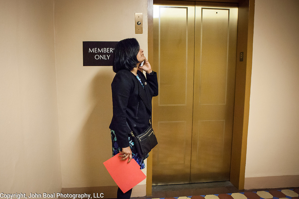 "Representative Pramila Jayapal (D-WA, 7), waits for the elevator to the United States Capitol to support the introduction of H.R 724 by Rep. Zoe Lofgren (D-CA) to ""revoke President Trump's January 27, 2017 executive order...[and] block funding for any enforcement of the order,"" on Tuesday, January 31, 2017. For The Stranger (Seattle, WA)."