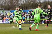 Forest Green Rovers Carl Winchester(7) shoots at goal during the EFL Sky Bet League 2 match between Forest Green Rovers and Yeovil Town at the New Lawn, Forest Green, United Kingdom on 16 February 2019.