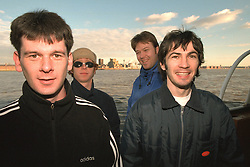 LIVERPOOL, ENGLAND - Liverpool band Space photographed on a Mersey Ferry in Liverpool. Andy Parle, Jamie Murphy, Franny Griffiths, Tommy Scott. (Pic by David Rawcliffe/Propaganda)