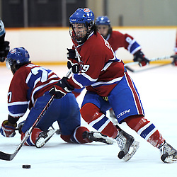 LINDSAY, ON - Feb 14 : Ontario Junior Hockey League Game Action between the Lindsay Muskies and the Toronto Jr. Canadiens, Mike Cuddemi #39 of the Toronto Jr. Canadiens Hockey Club skates with the puck during first period game action.<br /> (Photo by Andy Corneau / OJHL Images)