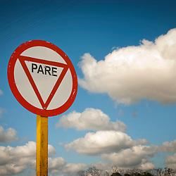 Traffic sign in Spanish, Cuba, Caribbean