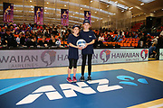 ANZ Future Captains Sylvia Strong aged 9 and Tamsin Wilson aged 9 pose for a photo prior to the match.. 2018 ANZ Premiership netball match, Stars v Magic at Pulman Arena, Auckland, New Zealand. 27 May 2018 © Copyright Photo: Anthony Au-Yeung / www.photosport.nz