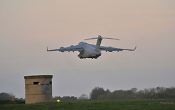 © Licensed to London News Pictures. 15 Nov 2013. RAF Brize Norton. C17 takes off. First Typhoon relief aid flight to depart from the UK.. Photo credit : MarkHemsworth/LNP