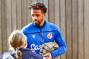 Reading forward Garath McCleary (12) arrives ahead of the EFL Sky Bet Championship match between Reading and Birmingham City at the Madejski Stadium, Reading, England on 7 December 2019.