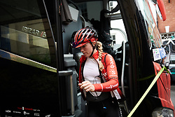 Julia Soek (NED) leaves the team bus ahead of Stage 4 of 2019 OVO Women's Tour, a 158.9 km road race from Warwick to Burton Dassett, United Kingdom on June 13, 2019. Photo by Sean Robinson/velofocus.com