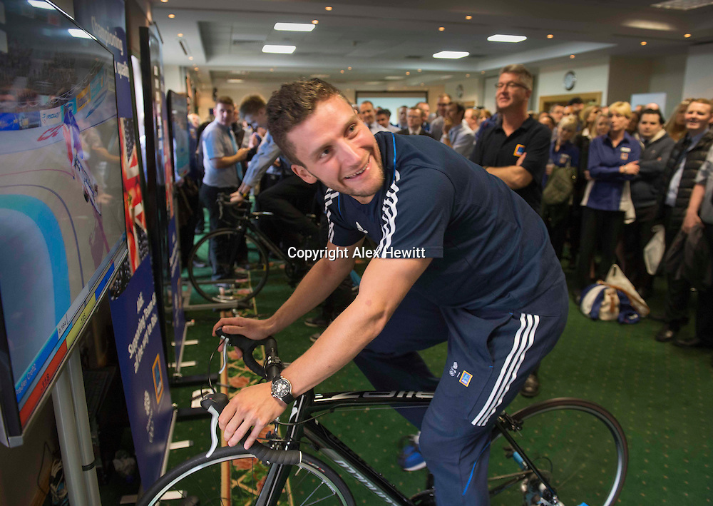Aldi Scotland Staff internal engagement event with Team GB cyclist Callum Skinner and swimmer Michael Jamieson at the Hilton Strathclyde in Bellshill<br /> <br /> picture by Alex Hewitt<br /> alex.hewitt@gmail.com<br /> 07789 871 540