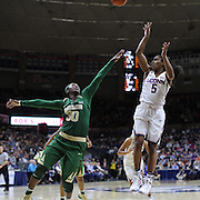STORRS, CONNECTICUT- NOVEMBER 17: Crystal Dangerfield #5 of the UConn Huskies shoots fro two while defended by Alexis Jones #30 of the Baylor Bears<br /> during the UConn Huskies Vs Baylor Bears NCAA Women's Basketball game at Gampel Pavilion, on November 17th, 2016 in Storrs, Connecticut. (Photo by Tim Clayton/Corbis via Getty Images)