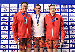 The medal ceremony for the Men's 100m Freestyle, gold medalist Duncan Scott (centre) alongside silver medalist Jack Thorpe (left) and bronze medalist Kieran McGuckin during day three of the 2017 British Swimming Championships at Ponds Forge, Sheffield.