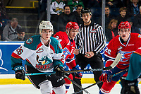 KELOWNA, CANADA - MARCH 13:  Liam Kindree #26 of the Kelowna Rockets skates against the Spokane Chiefs on March 13, 2019 at Prospera Place in Kelowna, British Columbia, Canada.  (Photo by Marissa Baecker/Shoot the Breeze)