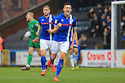 GOAL Matty Lund celebrates opening the scoring 1-0 Rochdale during the EFL Sky Bet League 1 match between Rochdale and Oldham Athletic at Spotland, Rochdale, England on 29 October 2016. Photo by Daniel Youngs.