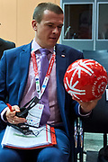 Graz, Austria - 2017 March 18: Witold Banka (Polish Sports Minister) holds Special Olympics ball during Global Forum on Inclusion in Social Affairs and Sports while Special Olympics World Winter Games Austria 2017 at Convention Centre Messe Graz on March 18, 2017 in Graz, Austria.<br /> <br /> Mandatory credit:<br /> Photo by &copy; Adam Nurkiewicz / Mediasport<br /> <br /> Adam Nurkiewicz declares that he has no rights to the image of people at the photographs of his authorship.<br /> <br /> Picture also available in RAW (NEF) or TIFF format on special request.<br /> <br /> Any editorial, commercial or promotional use requires written permission from the author of image.<br /> <br /> Image can be used in the press when the method of use and the signature does not hurt people on the picture.