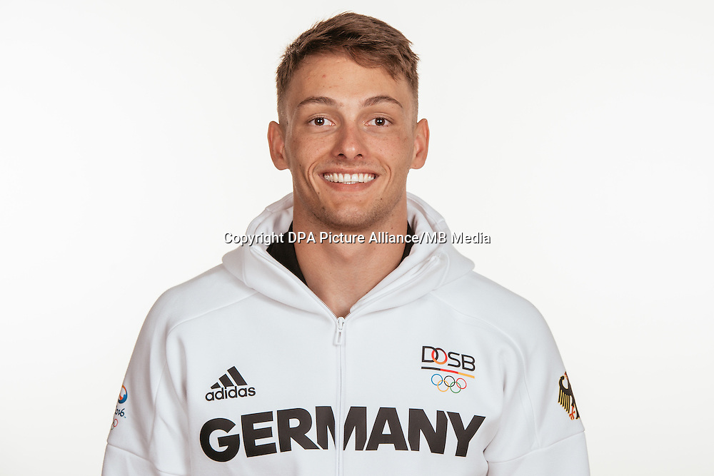 Maximilan Korge poses at a photocall during the preparations for the Olympic Games in Rio at the Emmich Cambrai Barracks in Hanover, Germany, taken on 14/07/16 | usage worldwide