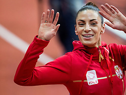 Ivana Spanovic of Serbia after the Long Jump Women Qualification on day two of the 2017 European Athletics Indoor Championships at the Kombank Arena on March 4, 2017 in Belgrade, Serbia. Photo by Vid Ponikvar / Sportida