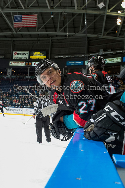 KELOWNA, CANADA - OCTOBER 26: Calvin Thurkauf #27 of the Kelowna Rockets trash talks the bench of the Victoria Royals on October 26, 2016 at Prospera Place in Kelowna, British Columbia, Canada.  (Photo by Marissa Baecker/Shoot the Breeze)  *** Local Caption ***