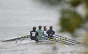 Hammersmith, Greater Game, London, UK. Reading RC/Reading Uni/Isle of Ely RC, make their way to the start. 2015 Fours Head of the River Race, River Thames [ opposite Chiswick Eyot]  Saturday  07/11/2015 <br /> <br /> [Mandatory Credit: Peter SPURRIER: Intersport Images]