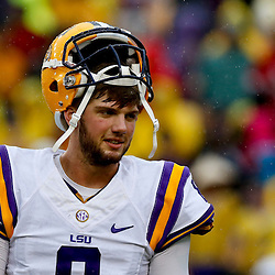 Sep 21, 2013; Baton Rouge, LA, USA; LSU Tigers quarterback Zach Mettenberger (8) before a game against the Auburn Tigers at Tiger Stadium. Mandatory Credit: Derick E. Hingle-USA TODAY Sports