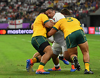 Rugby Union - 2019 Rugby World Cup - Quarter-Final: England vs. Australia<br /> <br /> England's Mako Vunipola held up by Australia's Scott Sio and Allan Alaalatoa, at Oita Stadium, Oita Prefecture.<br /> <br /> COLORSPORT/ASHLEY WESTERN