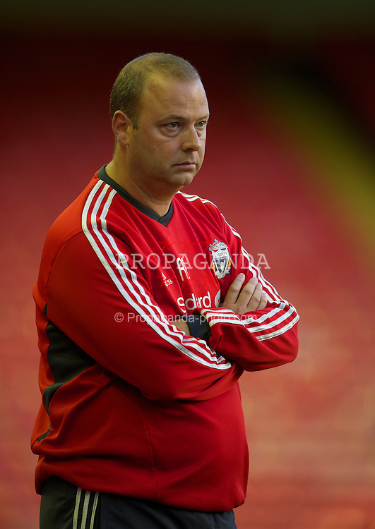LIVERPOOL, ENGLAND - Wednesday, August 17, 2011: Liverpool's reserve team head coach Rodolfo Borrell watches his side take on Sporting Clube de Portugal during the first NextGen Series Group 2 match at Anfield. (Pic by David Rawcliffe/Propaganda)