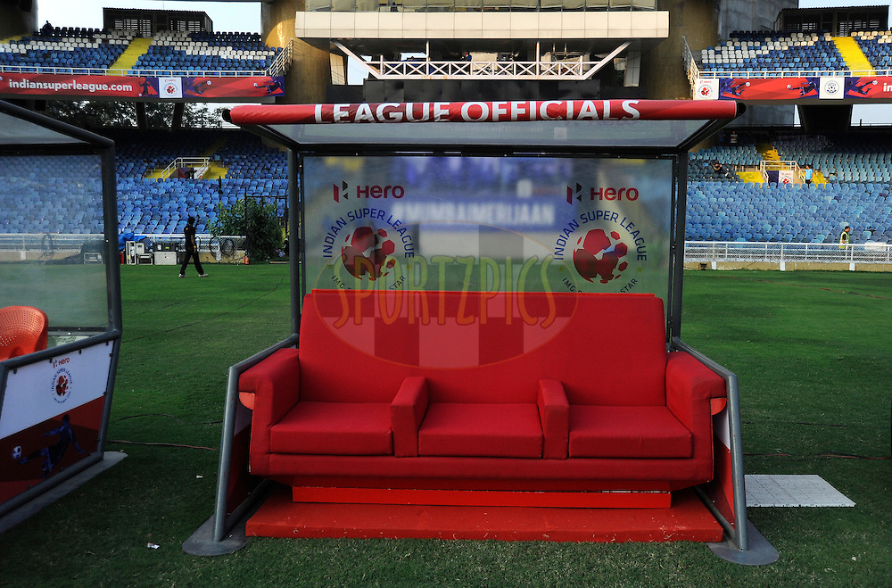League officials seating area during match 43 of the Indian Super League (ISL) season 2  between Chennaiyin FC and Kerala Blasters FC held at the Jawaharlal Nehru Stadium, Chennai, Tamil Nadu, India on the 21st November 2015.<br /> <br /> Photo by Pal Pillai / ISL/ SPORTZPICS