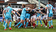 Mark Bright scores one of his two tries during the Green King IPA Championship Play-Off match between London Scottish &amp; Worcester at Richmond, Greater London on Saturday 2nd May 2015<br /> <br /> Photo: Ken Sparks | UK Sports Pics Ltd<br /> London Scottish v Worcester, Green King IPA Championship, 2nd May 2015<br /> <br /> &copy; UK Sports Pics Ltd. FA Accredited. Football League Licence No:  FL14/15/P5700.Football Conference Licence No: PCONF 051/14 Tel +44(0)7968 045353. email ken@uksportspics.co.uk, 7 Leslie Park Road, East Croydon, Surrey CR0 6TN. Credit UK Sports Pics Ltd