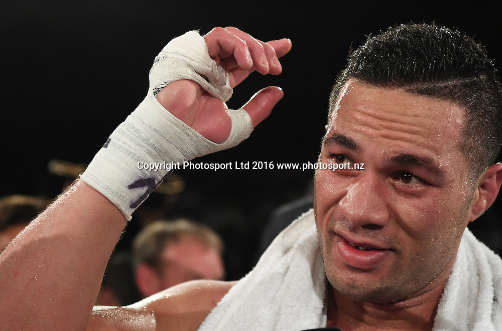 New Zealand Heavyweight boxer Joseph Parker after defeating French Cameroon boxer Carlos Takam. IBF eliminator. Burger King Road to the Title by Duco Boxing. Vodafone Events Centre, Saturday 21 May 2016. Auckland, New Zealand. © Copyright Photo: Andrew Cornaga / www.photosport.nz