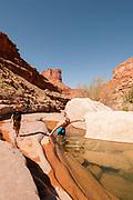 Swimming in fresh water pools while hiking Slickhorn canyon on the San Juan River during family desert rafting trip, souther Utah.