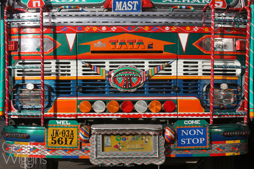 Front view of highly decorated Tata 1613 truck on the road to Leh in the Himalayas Ladakh, northern India