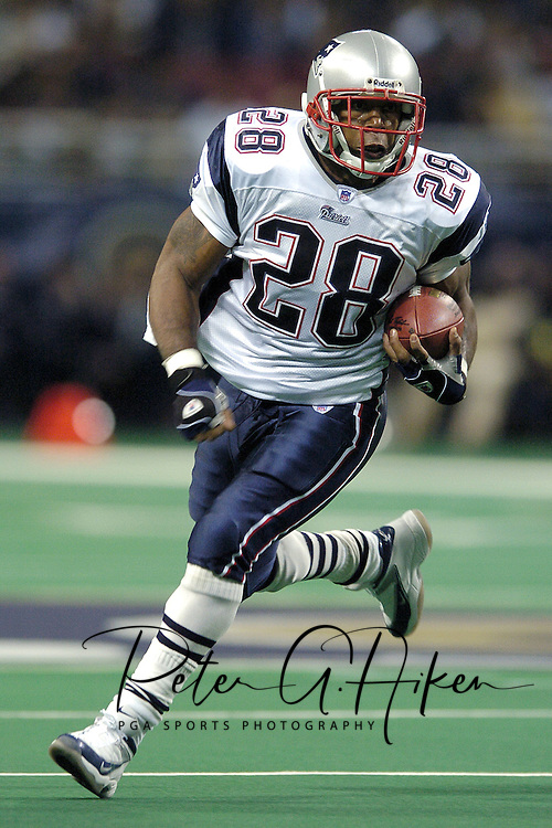 New England Patriots running back Corey Dillon rushed for 112-yards and a touchdown against the St. Louis Rams, during the Patriots 40-22 win at the Edward Jones Dome in St. Louis Missouri, November 7, 2004.