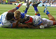 Brad Dywer of Leeds Rhinos  scores the try against Toulouse Olympique during the Betfred Super 8s Qualifiers match at Emerald Headingley Stadium, Leeds<br /> Picture by Stephen Gaunt/Focus Images Ltd +447904 833202<br /> 11/08/2018