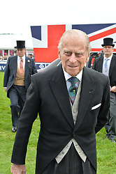 HRH The DUKE OF EDINBURGH at the Investec Derby at Epsom Racecourse, Epsom, Surrey on 4th June 2016.