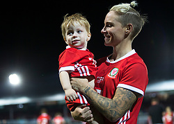 NEWPORT, WALES - Thursday, August 30, 2018: Wales' Jessica Fishlock holds her nephew after the FIFA Women's World Cup 2019 Qualifying Round Group 1 match between Wales and England at Rodney Parade. (Pic by Laura Malkin/Propaganda)