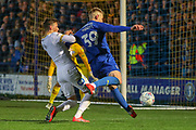 AFC Wimbledon striker Joe Pigott (39) with a shot on goal during the EFL Sky Bet League 1 match between AFC Wimbledon and Peterborough United at the Cherry Red Records Stadium, Kingston, England on 12 March 2019.