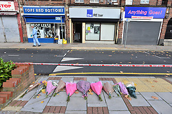 © Licensed to London News Pictures. 11/10/2015. London, UK. The scene outside the RE bar' in Field End Road, Eastcote, Hillingdon where a man was stabbed to death early this morning (SUN). The victim is belived to be  21-year-old Josh Hanson from Kingsbury.  Photo credit: Ben Cawthra/LNP