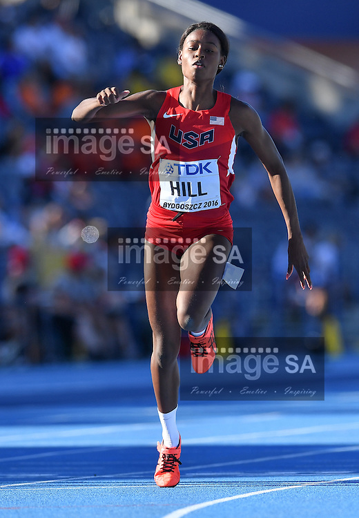 BYDGOSZCZ, POLAND - JULY 21: Candace Hill of the USA in the semi final of the women's 100m during the evening session on day 3 of the IAAF World Junior Championships at Zawisza Stadium on July 21, 2016 in Bydgoszcz, Poland. (Photo by Roger Sedres/Gallo Images)