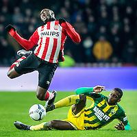 EINDHOVEN - PSV - ADO Den Haag , Voetbal , Seizoen 2015/2016 , Eredivisie , Philips stadion , 27-02-2016, Tackle van ADO Den Haag speler Dion Malone (r) op PSV speler Jetro Willems (l)