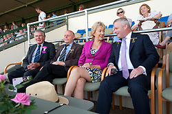 © Licensed to London News Pictures. 25/07/2018. Llanelwedd, Powys, UK. (with Chris Davies MP for Brecon & Radnorshire (R) in the Main Ring grandstand for the King's Troop event) Andrea Leadsom, Leader of the House of Commons Lord President of the Council,visits the Royal Welsh Agricultural Show. The Royal Welsh Agricultural Show is hailed as the largest & most prestigious event of its kind in Europe. In excess of 200,000 visitors are expected this week over the four day show period. The first ever show was at Aberystwyth in 1904 and attracted 442 livestock entries. Photo credit: Graham M. Lawrence/LNP