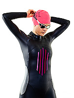 one caucasian woman practicing triathlon triathlete ironman swimmer swimming swimsuit studio shot  isolated on white background