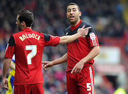 Bristol City's Sam Baldock (left) and Bristol City's Lewin Nyatanga (right) - Photo mandatory by-line: Joe Meredith/JMP - Tel: Mobile: 07966 386802 01/04/2013 - SPORT - FOOTBALL - Ashton Gate - Bristol -  Bristol City V Sheffield Wednesday - Npower Championship