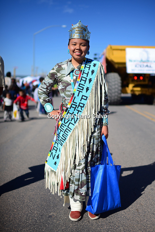 Bahast'lah Veteran Princess during morning parade at Navajo Nation Fair, a world-renowned event that showcases Navajo Agriculture, Fine Arts and Crafts, with the promotion and preservation of the Navajo heritage by providing cultural entertainment. Window Rock, Arizona.