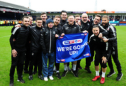Luton Town manager Nathan Jones and his coaching staff celebrate with fan Nicky Toone  - Mandatory by-line: James Healey/JMP - 28/04/2018 - FOOTBALL - Kenilworth Road - Luton, England - Luton Town v Forest Green Rovers - Sky Bet League Two
