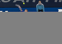 Tennis - 2017 Nitto ATP Finals at The O2 - Day Five<br /> <br /> Group Boris Becker Singles: Roger Federer (Switzerland) Vs Marin Cilic (Croatia)<br /> <br /> Marin Cilic (Croatia) serves at the O2 Arena<br /> <br /> COLORSPORT/DANIEL BEARHAM