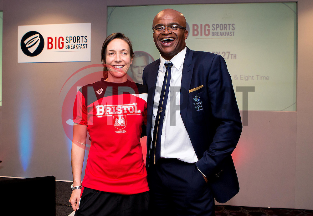 Kriss Akabusi poses for a picture with Corinne Yorston of Bristol City Women - Mandatory by-line: Robbie Stephenson/JMP - 29/07/2016 - FOOTBALL - Ashton Gate - Bristol, England - Bristol Sport Big Breakfast - Kriss Akabusi