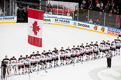 Winning team Canada listening to the national anthem during the 2017 IIHF Men's World Championship group B Ice hockey match between National Teams of Canada and Norway, on May 15, 2017 in AccorHotels Arena in Paris, France. Photo by Vid Ponikvar / Sportida