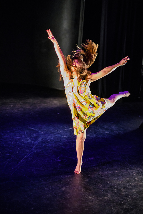 Tech rehearsal of Baltimore modern dance company The Collective's annual concert &quot;Senses&quot; at the Baltimore Theatre Project April 17, 2018. <br /> &quot;Burst,&quot; choreography by Samantha Hopkins featuring Natalie Boegel, and Adrienne Kraus Latanishen<br /> <br /> <br /> CREDIT: Matt Roth