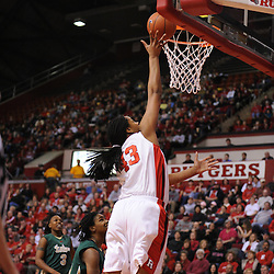 Jan 31, 2009; Piscataway, NJ, USA; Rutgers center Rashidat Junaid (43) puts up a basket during the first half of South Florida's 59-56 victory over Rutgers in NCAA women's college basketball at the Louis Brown Athletic Center